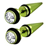 Lime Green Anodized Stainless Look-alike Taper Expander with Clear CZ Earrings - (27 mm x 6 mm)