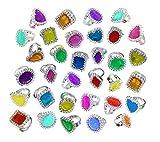 Colorful Rhinestone Rings Bulk Party Pack of 144 Plastic Jewel Rings