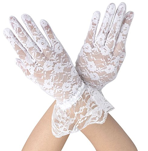Lace Floral Short Tulle Bridal Gloves (White)