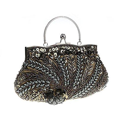 Flada Vintage hecho a mano de cuentas de flores noche bolso de embrague para las mujeres bolso de la boda La mía gris