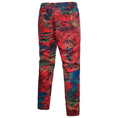 Toile Pantalons Occasionnels Hommes De Des Rouge D'été Respirants D'hawaï Confortables qwt6r4w