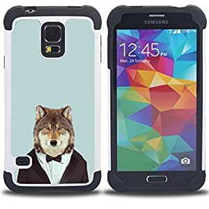 - Wolf Heart Face Funny - - Fulland Deluxe Hybrid TUFF Rugged Shockproof Rubber + Hard Case Cover FOR Samsung Galaxy S5 I9600 G9009 G9008V Queen Pattern
