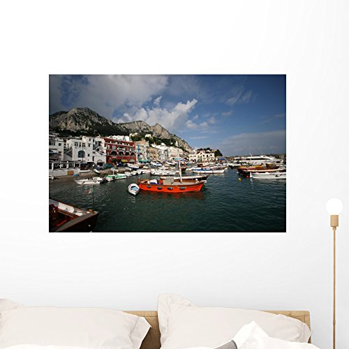 Wallmonkeys Naples Italy Marina Beautiful Wall Mural Peel and Stick Graphic (36 in W x 24 in H) WM68499