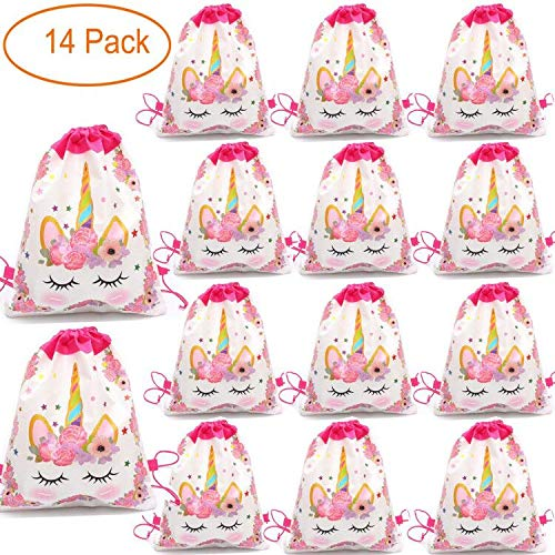 14 Pack Unicorn Drawstring Party Bag, Party Favor Gift Bags Birthday Party Supplies Favor Bag for kids Children Girls Baby Shower