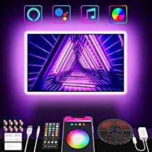 TV LED Backlight, Popotan LED Strip Lights 9.84Ft with Remote + App Control + Controller Box, Compatible with Alexa & Google Home, 16 Million RGB Colors, USB Powered for 46-55in TV