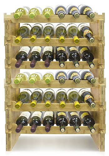 Sorbus 6-Tier Stackable Bamboo Wine Rack— Classic Style Wine Racks for Bottles— Perfect for Bar, Wine Cellar, Basement, Cabinet, Pantry, etc.— Holds 36 Bottles (6-Tier, Natural)