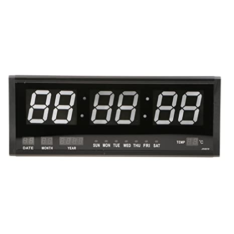 Baoblaze Calendario LED Digital Reloj Grande Jumbo Display de Mesa Reloj de Pared con Termómetro -