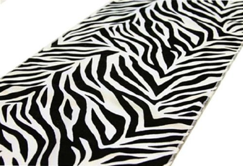12'' x 108'' Safari Animal Print Zebra Table Runner - Black on White