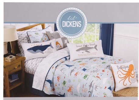 LIL DICKENS Kids TWIN SIZE Marine Life Quilt Set ocean octopus shark fish includes matching sham