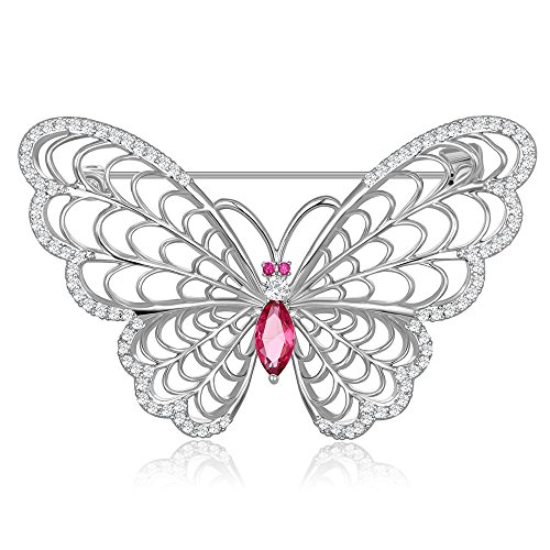 Kemstone Silver Tone Peach Crystal Accented Filigree Butterfly Brooch Pin (Silver Filigree Butterfly Pin)