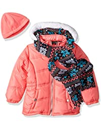 Girls' Snowflake Puffer With Hat and Scarf