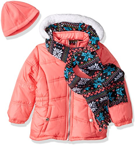 Little Girls Coat (Pink Platinum Little Girls' Snowflake Puffer With Hat and Scarf, Coral, 6X)