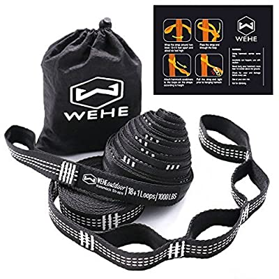 WEHE Hammock Straps Extra Strong & Lightweight,36 Loops, 2000LBS Breaking Strength,100% No Stretch Polyester,Tree Friendly,Quick&Easy Setup Best Suspension System: Garden & Outdoor