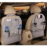 M'Baby 1pc Seat Back Car Organizer Woolen Felt Seat Back Kick Protectors for Kids, Storage Bottles, Tissue Box, Toys (Light Grey)