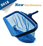 AKEfit Pool Skimmers 20'' Pool Nets Heavy Duty Pool Rake, Modern Leaf Scoop - Easy Glide Low Drag Skimmer Scoop - Double Stitched Net Bag, Finer Mesh Netting for Smaller Particles Fast Scoop