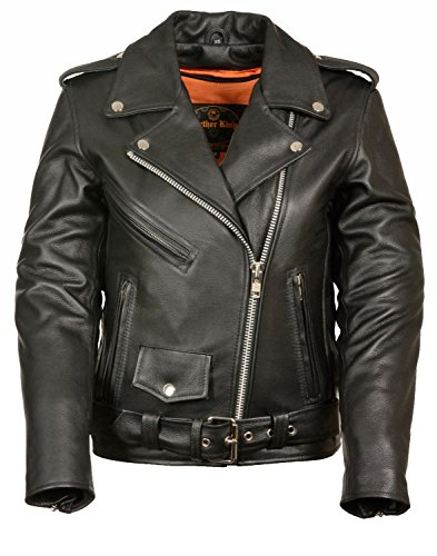 Shaf Womens Classic Leather Motorcycle Jacket, Black Size L