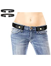 2 Pack No Buckle Free Elastic Belt for Women Men, Comfortable Adjustable Invisible Stretch Waist Belt for Jeans Shorts Pants