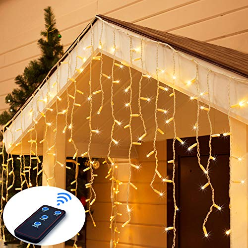 JMEXSUSS Remote Control Icicle Lights, 300LED Warm White Window Curtain Lights for Wedding, Party, Bedroom, Home, Garden, Outdoor, Indoor Wall Decorations (Icicle Decorations Large)