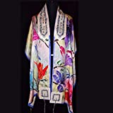 Dragonfly & Floral Silk Jacquard Tallit Prayer Shawl