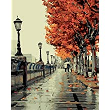 YEESAM ART New Release Paint by Number Kits for Adults Kids - Autumn Love 16x20 inch Linen Canvas without Wooden Frame