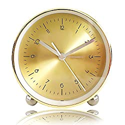 Golden Table Clock, Round Silent Desk Alarm Clock Non-Ticking Battery Operated Quartz MovementBeside Alarm Clock with Night Light for Kids Indoor Decor (L)