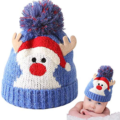Christmas Holiday Baby Kids Knitted Warm Hat Toddler Santa Knit Cap Infant Reindeer Beanie Cap (K-Blue)