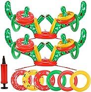 eboozone Inflatable Reindeer Antler Toss Game 2 Sets, Christmas Game, 2 Antlers 20 Rings with Pump