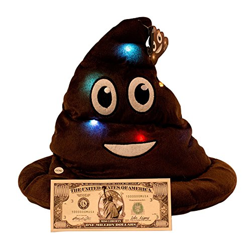 Imprints Plus Emoticon Light Up Emoji Poop Hat Plush Head Wear 12 inches High with Non negotable Million Dollar Bill Bundle -