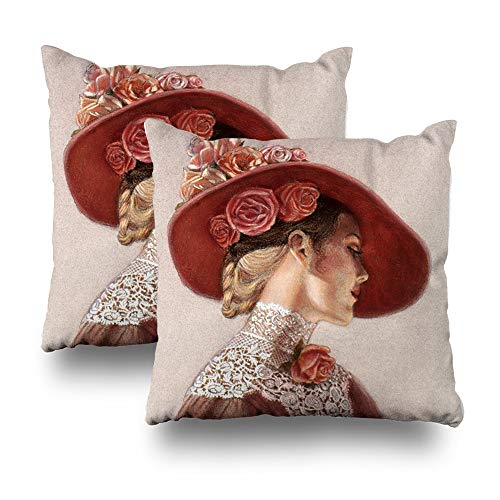 (LALILO Set of 2 Throw Pillow Covers, Elegant Victorian Lady Art Floral Roses Hat Double-Sided Pattern Sofa Cushion Cover Couch Decoration Home Gift Bed Pillowcase 18x18 inch)