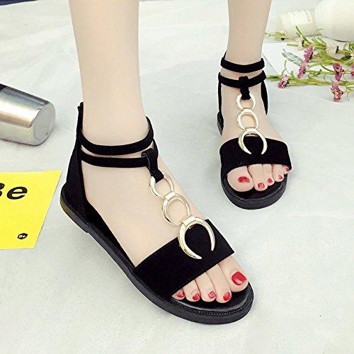 RUGAI-UE Simples sandalias verano zapatos de mujer Zapatos de hebilla redonda plana Black