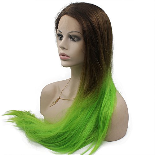 Mxangel Long Straight Heat Resistant Synthetic Lace Front Brown Green Two Tone Ombre Wig Cosplay (Wig Angel Brown)