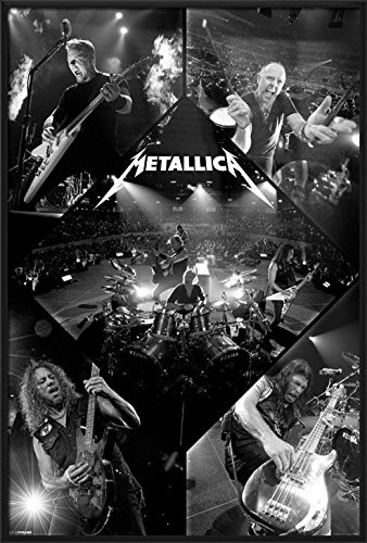 Metallica - Framed Music Poster/Print (Live - Black & White Photo Colalge) (Size: 24 inches x 36 inches)