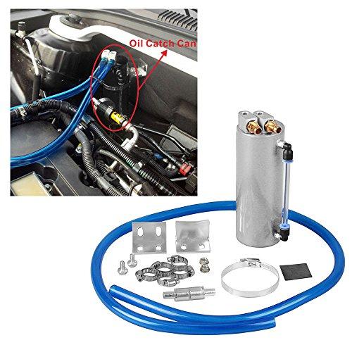Univarsal Aluminum Racing Engine Oil Catch Tank CAN Kit Turbo Reservoir Billet Round 450ML Silver