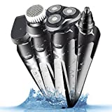 Professional Electric Shaver Razor for Men 4 in 1 Rotary Beard Trimmer Waterproof Facial Brush Rechargeable Nose Hair Trimmer Cordless Precision Trimmer Groomer Kit, Gifts for Husband Dad Boyfriend