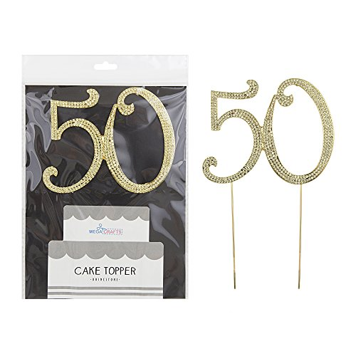Mega Crafts Sparkly Gold Rhinestone Number 50 Cake Topper Decoration | Shimmering Gold Crystals & Durable Alloy Metal | For Birthdays, Anniversaries, Centerpieces, Party Favors, Celebrations & (Celebration Personalized Banner)