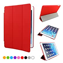 iPad air Case, SymbolLife Ultra Thin Smart Cover with Auto Sleep/Wake Function for Apple iPad air 1st Gen + Screen Protector + Cleaning Cloth + Stylus Red