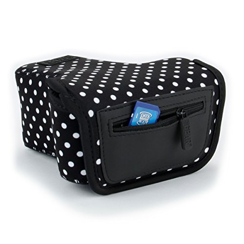 USA GEAR DSLR Camera Sleeve Case (Polka Dot) with Neoprene Protection , Holster Belt Loop and Accessory Storage - Compatible With Nikon D3400, Canon EOS Rebel SL2, Pentax K-70 and More