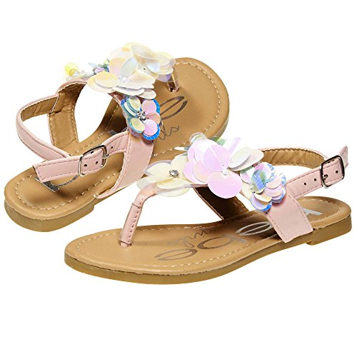 bebe Summer Flat Slingback Sandals T Strap Thong Shoes with Rhinestone and Flowers for Girls Big Kid Size 2 Pink (Shoes Sandal Thong Flower)