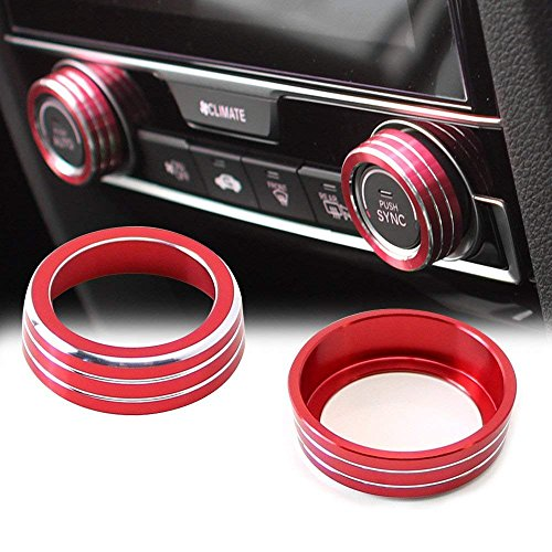Aluminum Audio Air Condition Button Cover for Honda Civic 10th Gen 2016/2017,AC Control Knob Decoration Twist Switch Ring Trim (RED 2 Pcs) by TOPPOWER