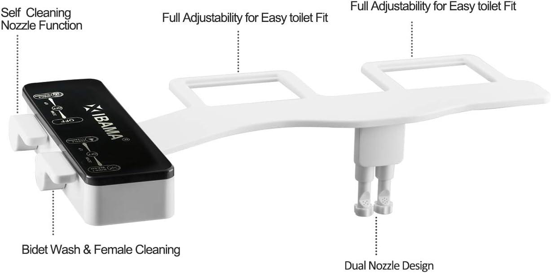 Negro Accesorio de WC de bid/é mec/ánico no el/éctrico de agua dulce Boquilla de autolimpieza IBAMA Bid/és