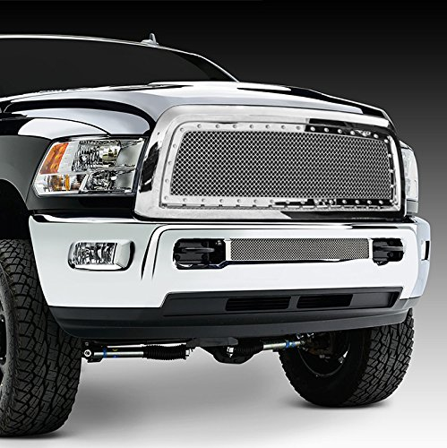 Razer Auto Triple Chrome Plated Rivet Studded Frame Mesh Grille Complete Factory Replacement Grille Shell for 10-17 Dodge RAM Trucks 2500+3500+Heavy Duty ()