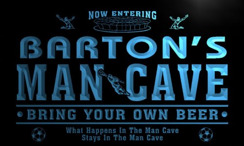 qd1475-b BARTON's Man Cave Soccer Football Neon Beer Sign by AdvPro Name