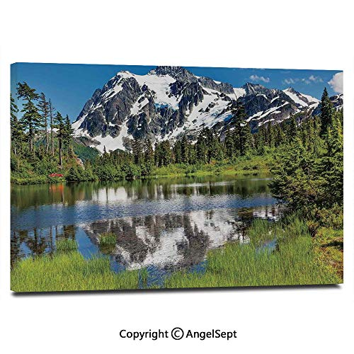 Modern Salon Theme Mural Picture of Lake Evergreens Mount Shuksan Highway Washington Pacific Northwest USA Painting Canvas Wall Art for Home Decor 24x36inches, Green Blue