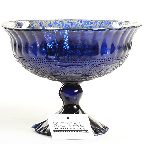"Koyal Wholesale Compote Bowl Centerpiece Mercury Glass Antique Pedestal Vase, Floral Centerpiece, Wedding, Bridal Shower, Home Décor (7"" x 5"", Navy Blue)"