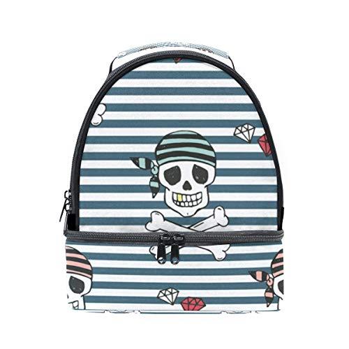Pattrern Sac l'école Tote Pincnic Tête réglable de Pirates Alinlo à mort à Rayures pour avec isotherme Boîte lunch Cooler bandoulière wqX7HCz