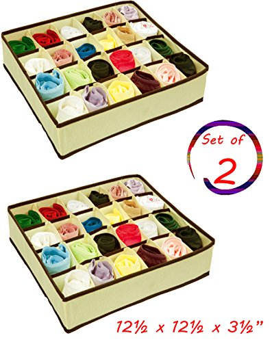 2 X Box Drawer - Closet Storage Organizer Box,For Socks Ties Clothing lingerie Underwear Drawer, 24 Divider Collapsible,Beige, Size: 12 ½'' x 12 ½''x 3 ½'',Set of 2