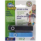 Baby Buddy Secure-A-Toy, Safety Strap Secures Toys, Teether, or Pacifiers to Strollers, Highchairs, Car Seats-Adjustable Length to Keep Toys Sanitary Clean Blue-Navy 2 Count