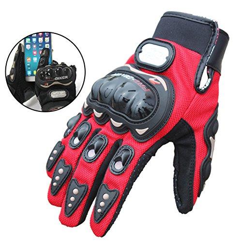 Pro Moto Motorcross Full Finger Man Women Motorcycle Glove Bike Glove (Extra Large, Red)
