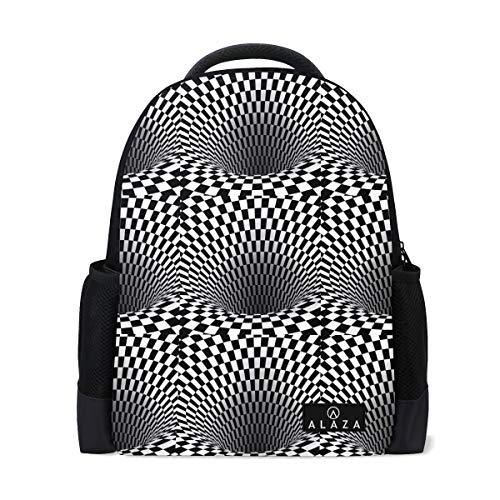 (Lightweight Backpack for School,Abstract Wormhole Tunnel Geometric Square Black Classic Casual Travel Daypack with Bottle Side Pockets)