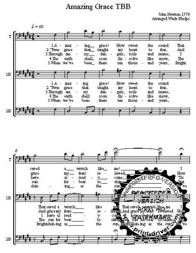 Amazing Grace  A cappella for  TBB Choral Sheet Music